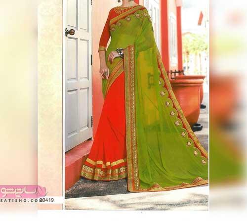 مدل لباس هندی مجلسی دو رنگ قرمز و سبز