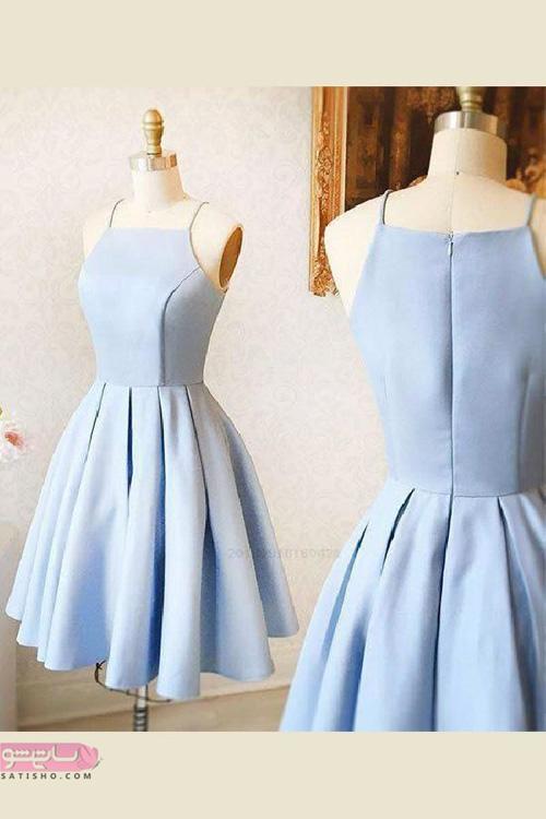 مدل لباس مجلسی کوتاه با پارچه ساتن