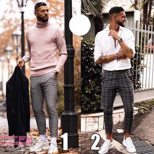 عکس مدل لباس مردانه 98 همراه با شلوار چهار خانه