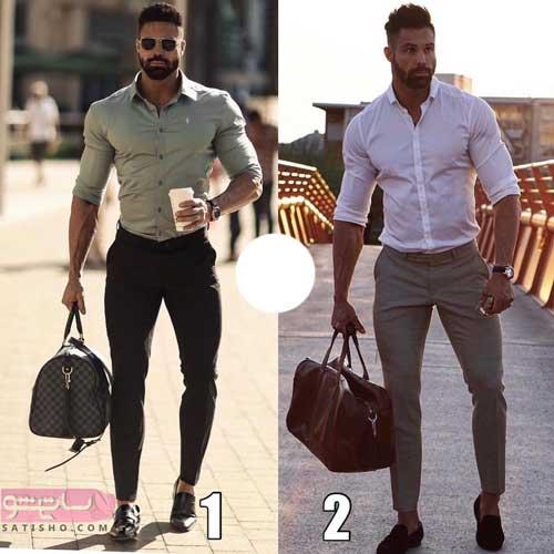 ست عکس مدل لباس مردانه ایرانی همراه با کیف