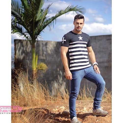 انواع مدلهای یقه پیراهن مردانه با پارچه راه راه افقی