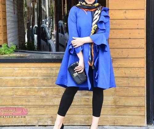 مدل جالب مانتو آستین شیپوری آبی رنگ