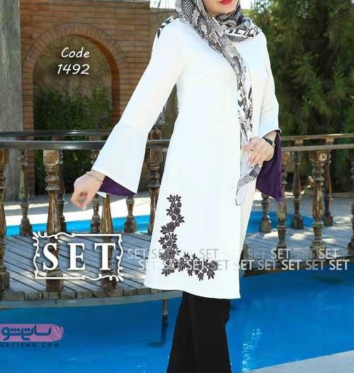 مدل مانتو زنانه بلند سفید گلدوزی شده