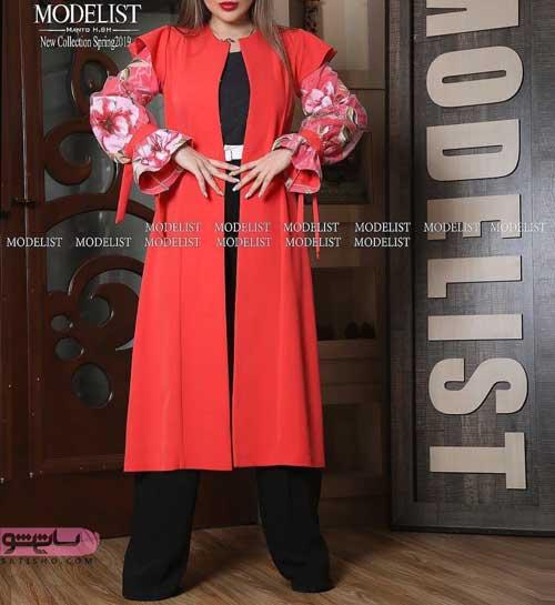 شیک ترین مدل مانتو مجلسی دخترانه قرمز رنگ