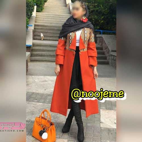 مانتوی بلند جدید طرح مدل کتی نارنجی رنگ