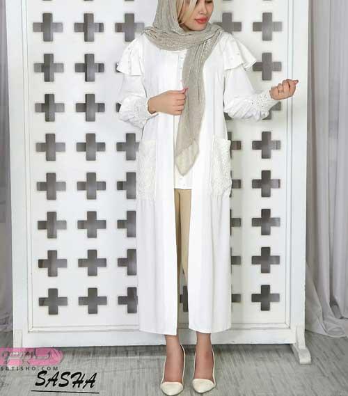استایل مانتوی بلند سفید رنگ اندامی