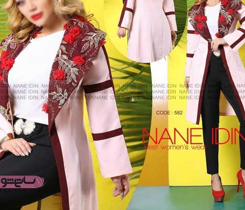 مدل مانتو گیپور با گل های قرمز زیبا دخترانه