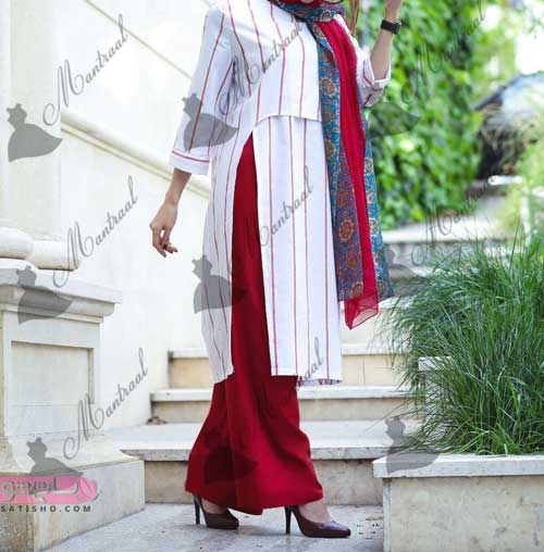 تصاویر مدل مانتوهای بلند کار شده با دو رنگ ست
