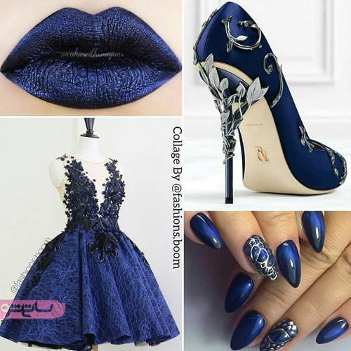 ست کفش و ناخن و لباس مجلسی دخترانه به رنگ آبی