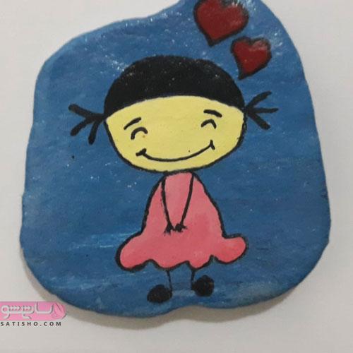 کاردستی دخترانه با نقاشی روی سنگ