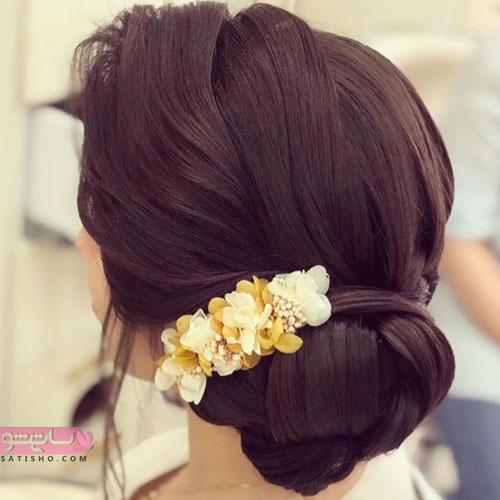 مدل زیبای شینیون با گل 98