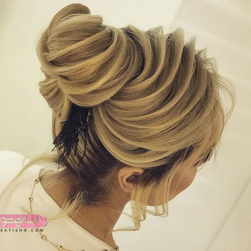 مدل شینیون مواج برای موهای بلند عروس