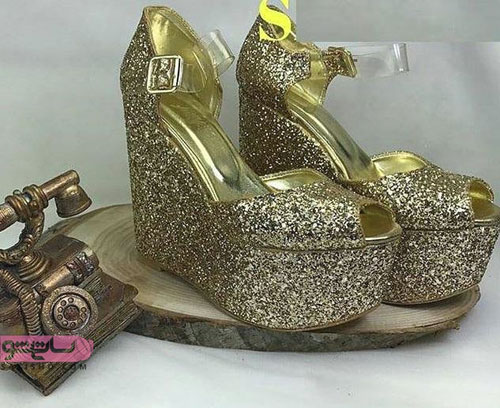 عکس کفش لژدار طلایی