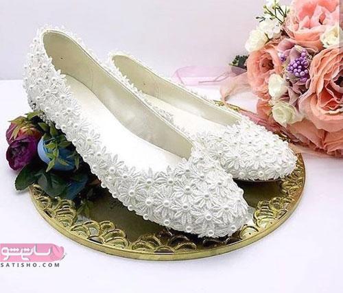 کفش پاشنه تخت عروس گلدار