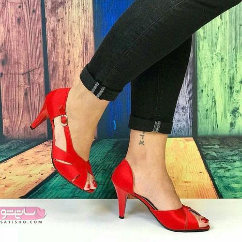 عکسهایی از کفش جلوباز مجلسی قرمز