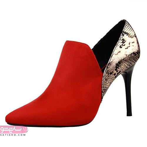کفش لاکچری طلایی و قرمز مجلسی