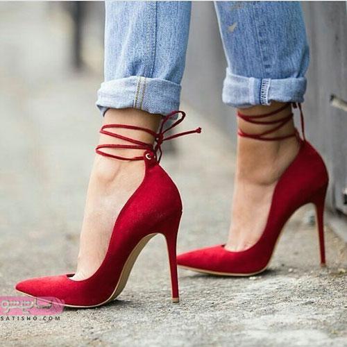 نمونه های لاکچری کفش مجلسی ساده به رنگ قرمز