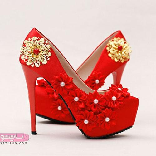 کفش پاشنه دار قرمز رنگ رسمی طرح جیر