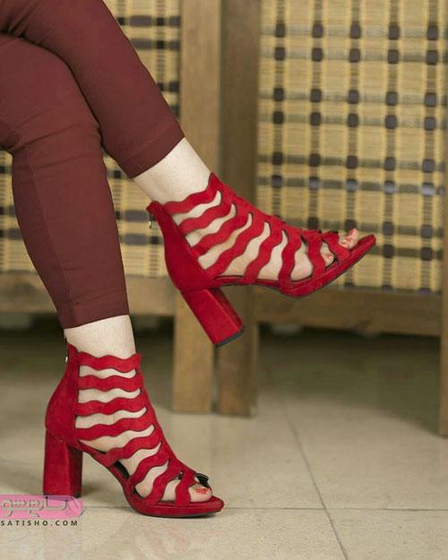 کفش مجلسی خاص دخترونه به رنگ زرشکی
