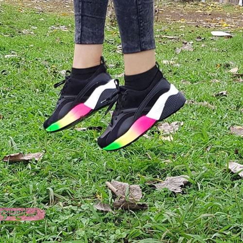 کفش مشکی دخترانه لژدار رنگی