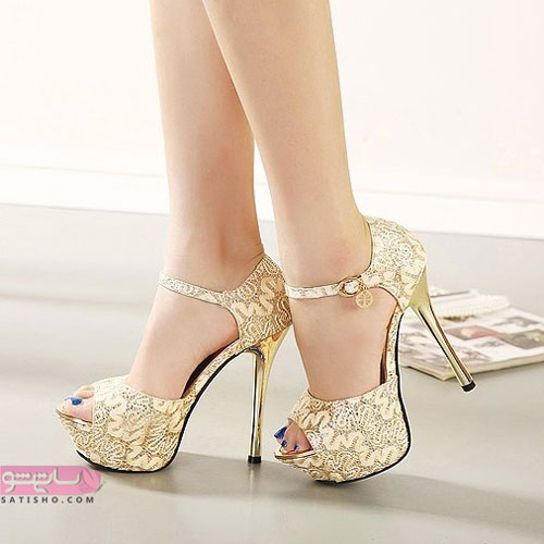 انواع مدل کفش پاشنه بلند مجلسی طلایی رنگ