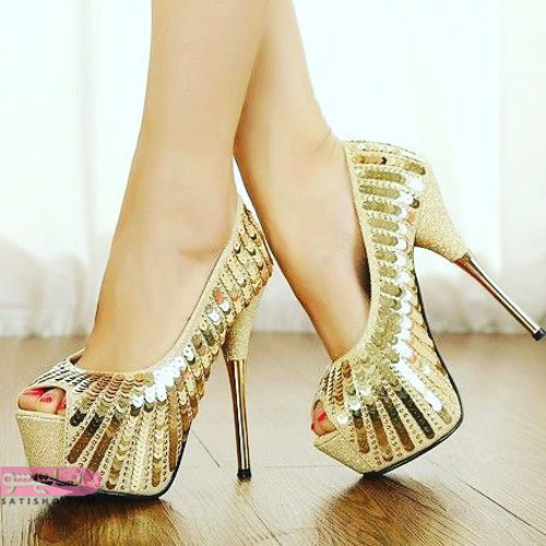 انواع کفش های پاشنه بلند مجلسی پولکی طلایی رنگ