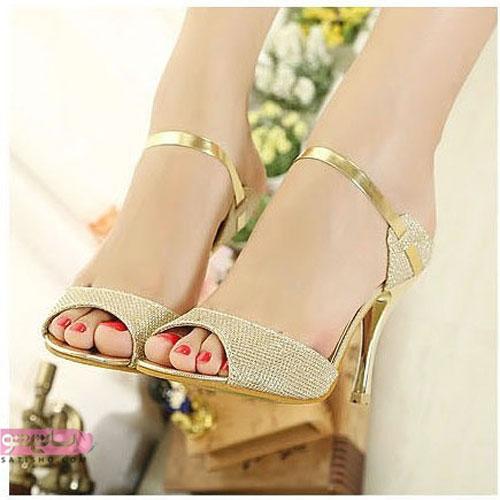 انواع کفش مجلسی پاشنه بلند شیک طلایی رنگ