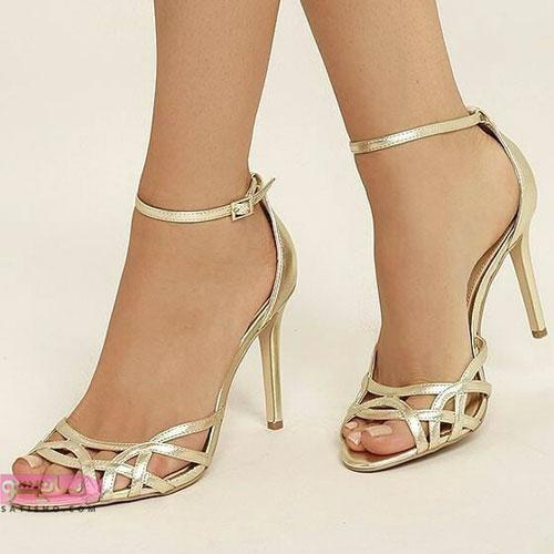 انواع کفشهای مجلسی پاشنه بلند طلایی رنگ