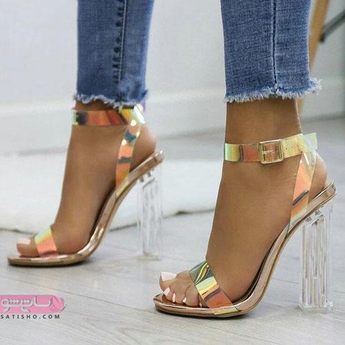 مدل کفش مجلسی پاشنه بلند طلایی رنگ