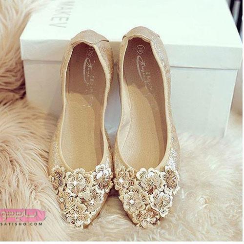 مدل کفش مجلسی پاشنه بلند راحت طلایی رنگ