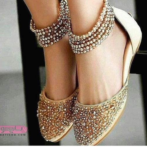 مدل کفش مجلسی پاشنه بلند شیک طلایی رنگ