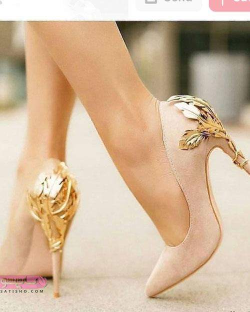 مدل کفش مجلسی پاشنه بلند جدید طلایی رنگ