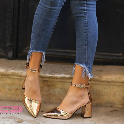 شیک ترین مدل کفش مجلسی 2019 طلایی رنگ