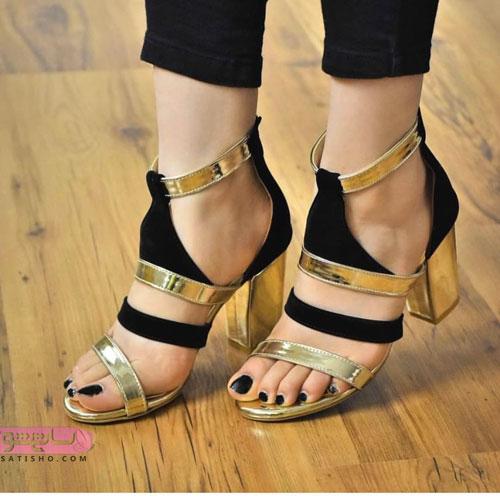 شیک ترین مدل کفش مجلسی عروس طلایی رنگ