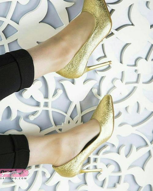 شیک ترین مدل کفش مجلسی ایرانی طلایی رنگ