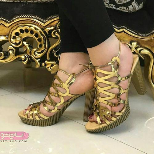 شیک ترین مدل کیف و کفش مجلسی طلایی رنگ