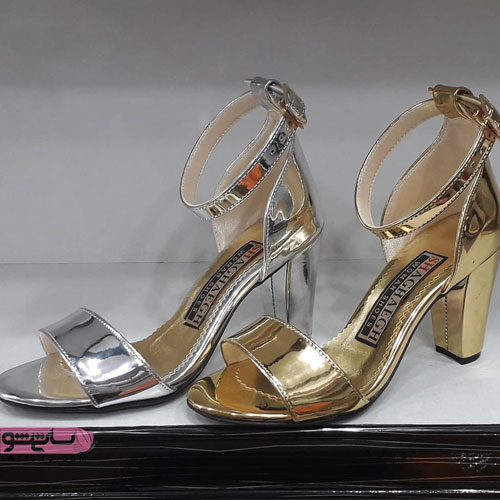 مدل انواع کفش مجلسی پاشنه بلند طلایی رنگ