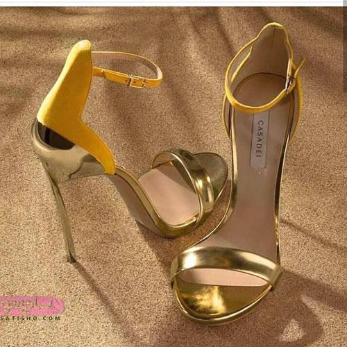 شیک ترین کفش مجلسی لژدار طلایی رنگ