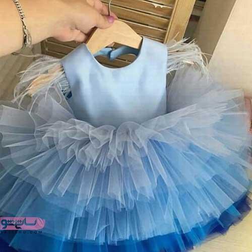 قیمت لباس پرنسسی بچه گانه ابی رنگ زیبا بلند