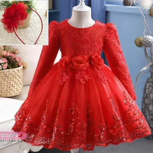 عکس از لباس مجلسی بچه گانه قرمز کار شده
