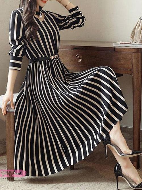 مدل مانتوی سیاه و سفید دامن دار بلند زنانه