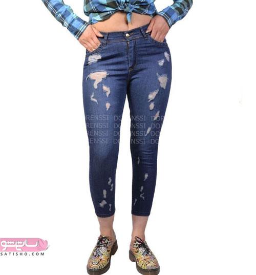 شلوار جین دخترانه با کفش های طرح دار