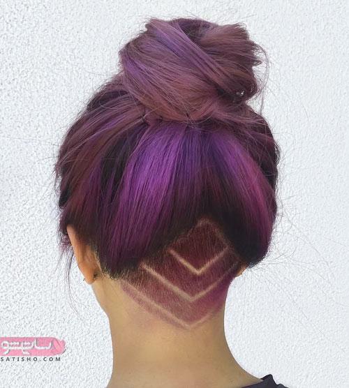 مدل مو بلند فانتزی با قسمت تراشیده شده در پشت سر