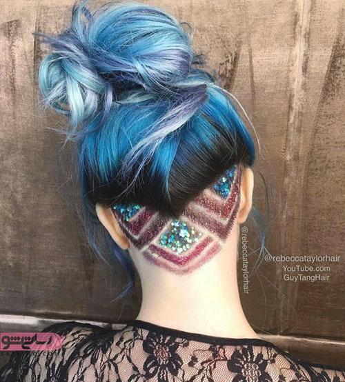 طرح آندرکات شکلدار اکلیلی برای موی هایلایت شده بلند