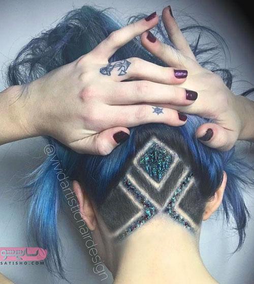 طرح آندرکات مثلثی اکلیلی آبی آسمانی برای موهای بلند