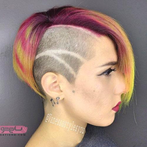 نمونه موی تراشیده بغل گوش فانتزی