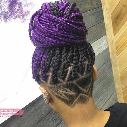 نمونه موی بافته شده به سبک آفریقایی و آندرکات خطی