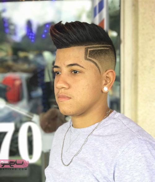 طرح آندرکات مدل پنج موی ساده مردانه در کنار سر