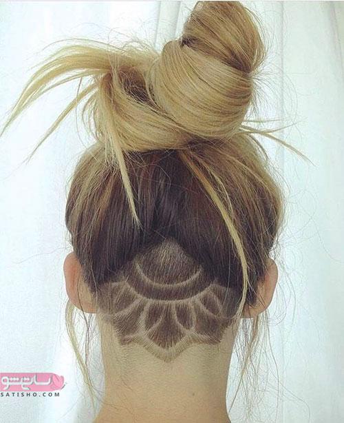 شکل جدید آندرکات با نقش گل آفتابگردان برای موی بلند دخترانه
