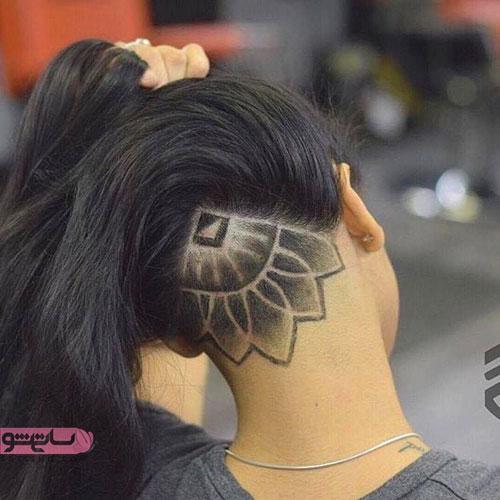 مدل جدید آندرکات به شگل گل برای موی بلند دخترانه